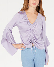 Ultra Flirt By Ikeddi Juniors' Ruched-Front Ruffle-Sleeved Satin Top