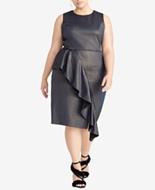 RACHEL Rachel Roy Plus Size Ruffled Metallic Scuba Dress