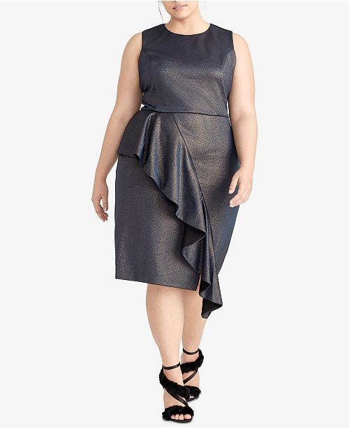 RACHEL Rachel Roy Plus Size Ruffled Metallic Scuba Dress
