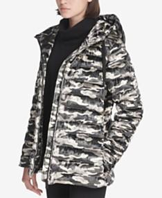 a11f91112ac53 DKNY Sport Camo-Print Velvet Hooded Jacket