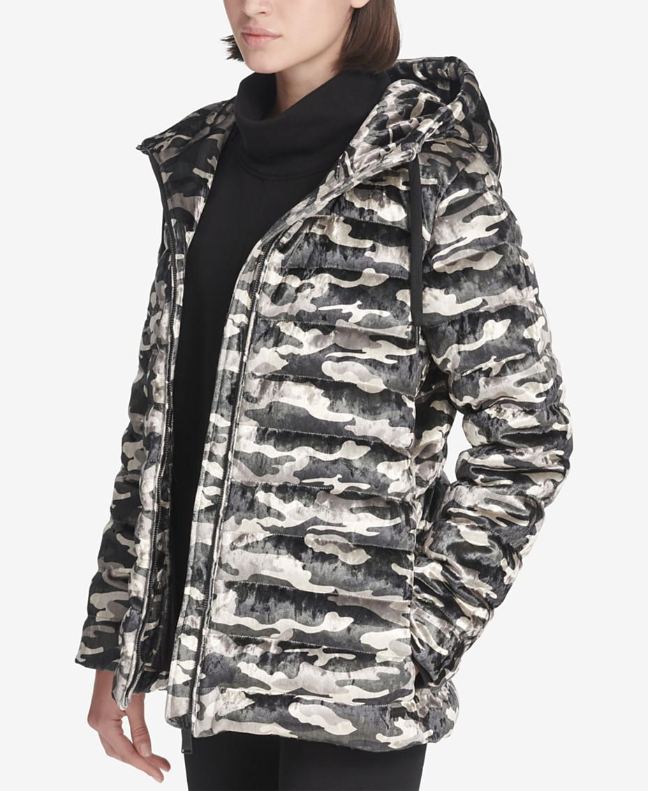 stylish design great variety styles beautiful and charming DKNY Sport Camo-Print Velvet Hooded Jacket & Reviews ...