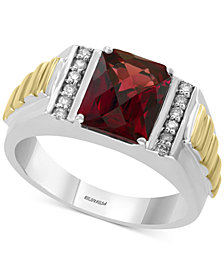 EFFY® Rhodolite Garnet (3-1/2 ct. t.w.) & Diamond (1/8 ct. t.w.) Ring in Sterling Silver & 14k Gold-Plate