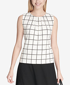 Calvin Klein Windowpane-Print Pleated-Neck Blouse