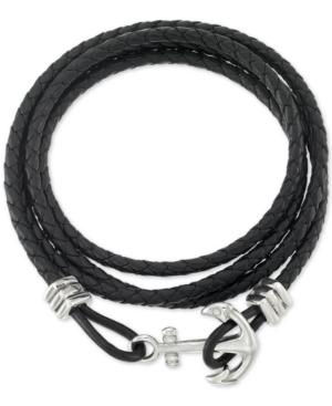 Smith Anchor Clasp Braided Leather Wrap Bracelet