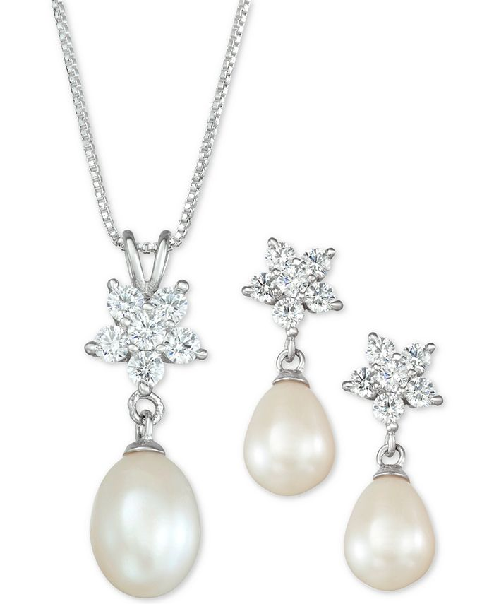 Macy's - Cultured Freshwater Pearl (7 x 9mm) and Cubic Zirconia Pendant Necklace and Drop Earrings Set in Sterling Silver