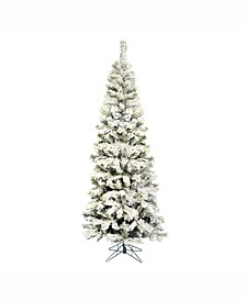 6.5 ft Flocked Pacific Artificial Christmas Tree Unlit