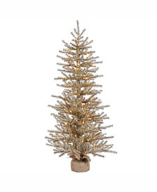 Vickerman 36 inch Mocha Tinsel Artificial Christmas Tree With 50 Clear Lights