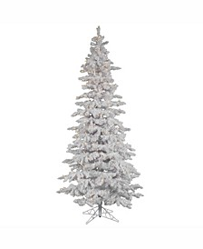 9 ft Flocked White Slim Artificial Christmas Tree With 750 Warm White Led Lights