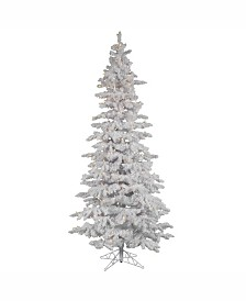 Vickerman 9 ft Flocked White Slim Artificial Christmas Tree With 750 Warm White Led Lights