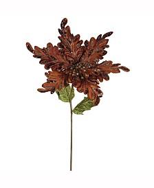 "Vickerman 15"" Chocolate Velvet Poinsettia Artificial Christmas Pick, 3 Per Bag"