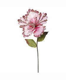 """Vickerman 23"""" Pink Hibiscus Artificial Christmas Pick, 3 Per Bag"""
