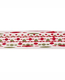 """2.5"""" Ivory With Red-Green Bead Print Christmas Ribbon"""