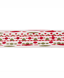"Vickerman 2.5"" Ivory With Red-Green Bead Print Christmas Ribbon"