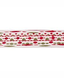 "Vickerman 2.5"" Ivory With Red-Green Bead Print Christmas Ribbon"