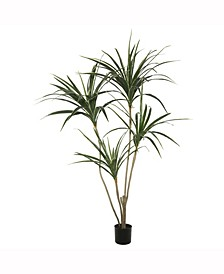 4.5' Potted Artificial Yellow Edge Green Yucca Features 4 Heads With 90 Leaves