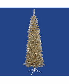 6.5 ft Champagne Pencil Artificial Christmas Tree With 300 Clear Lights