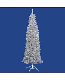 Vickerman 7.5 ft Silver Pencil Artificial Christmas Tree With 400 Warm White Led Lights