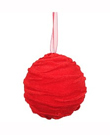 """4"""" Styrofoam Ball Ornament Wrapped With Red Cloth"""