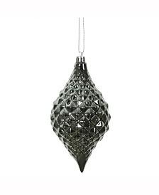 "6 X 3"" "" Pewter Shiny Diamond Drop Ornament"
