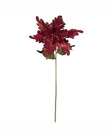 """20"""" Red Glitter Poinsettia 14"""" Flower Head 3/Bg"""