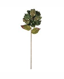 "20"" Green Mesh Faux Pearl Amaryllis 8"" Flower Head, Set of 3"