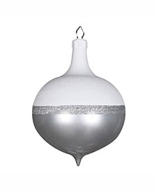 "12"" Silver Candy/White Glitter Drop Ornament"