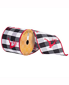 """4"""" X 10Yd Red Embroidered Running Reindeer On Black And White Plaid With A Red Edge"""