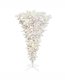 5.5 ft White Upside Down Artificial Christmas Tree With 250 Warm White Led Lights
