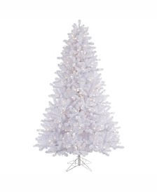 6.5 ft Crystal White Pine Artificial Christmas Tree With 550 Warm White Led Lights