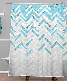 Deny Designs Iveta Abolina Teal Chevron Shower Curtain