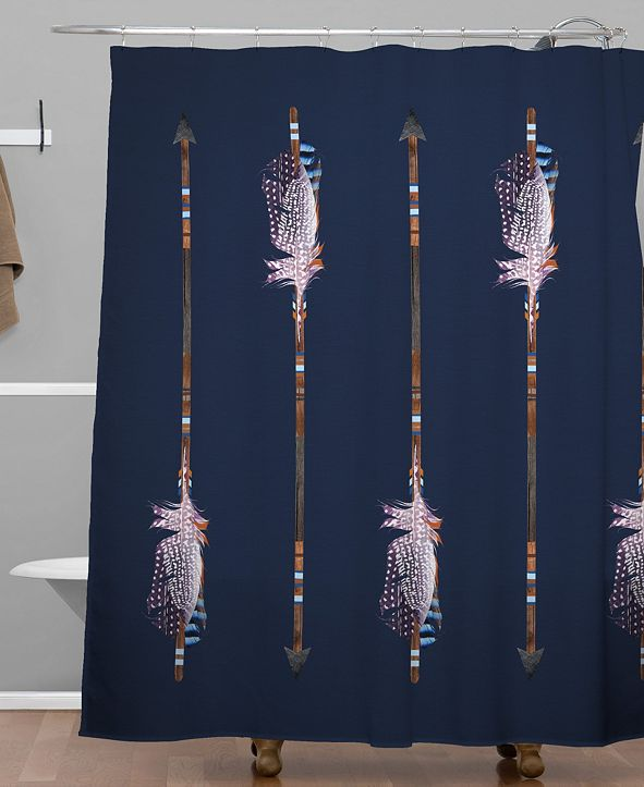Deny Designs Iveta Abolina Native Blue Arrows Shower Curtain