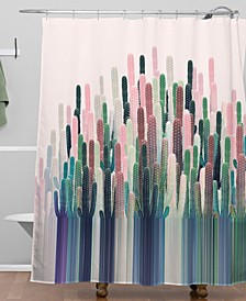 Iveta Abolina Cacti Stripe Pastel Shower Curtain