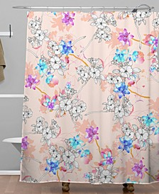 Iveta Abolina Peach Charlotte Shower Curtain