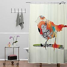 Iveta Abolina Orange Bird Shower Curtain