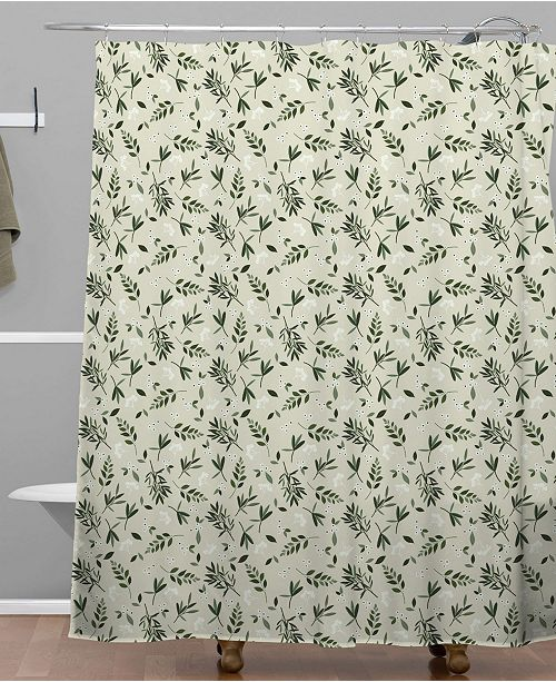 Deny Designs Iveta Abolina Nordic Olive Green Shower Curtain