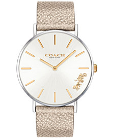 COACH Women's Perry Gold-Tone Leather Strap Watch 36mm, Created for Macy's
