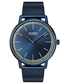 HUGO Men's #Exist Ultra Slim Blue Ion-Plated Stainless Steel Mesh Bracelet Watch  40mm