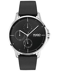 HUGO Men's #Focus Black Leather Strap Watch 42mm