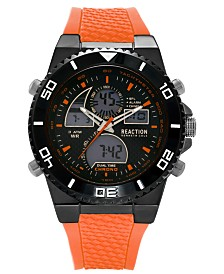 Kenneth Cole Reaction Men's Analog-Digital Chronograph Orange Silicone Strap Watch 46mm