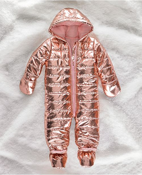 90d321f0f First Impressions Baby Girls Metallic Puffer Snowsuit