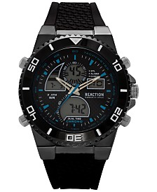 Kenneth Cole Reaction Men's Analog-Digital Chronograph Black Silicone Strap 46mm