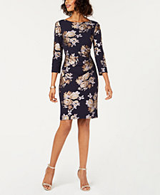 Jessica Howard Metallic Floral Sheath Dress