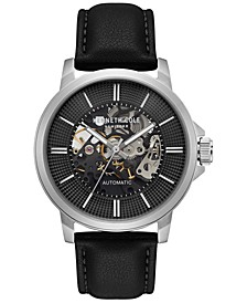 Men's Automatic Black Leather Strap Watch 44mm