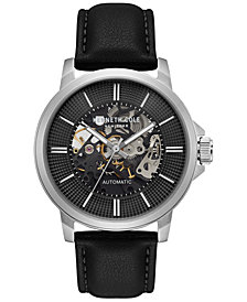 Kenneth Cole New York Men's Automatic Black Leather Strap Watch 44mm