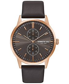 Kenneth Cole New York Men's Dark Brown Leather Strap Watch 44mm