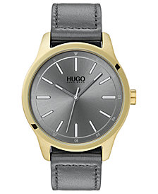 HUGO Men's #Dare Gray Leather Strap Watch 42mm