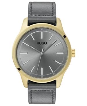 Hugo Men's #Dare Gray Leather Strap Watch 42mm