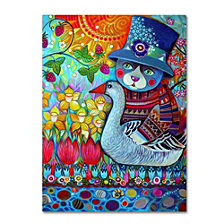 Oxana Ziaka 'Cat with Goose' Canvas Art Collection