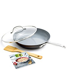"""Valencia Pro Holiday 11"""" Covered Frypan with Bamboo Turner & Cookbook"""