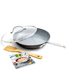 """GreenPan Valencia Pro Holiday 11"""" Covered Frypan with Bamboo Turner & Cookbook"""